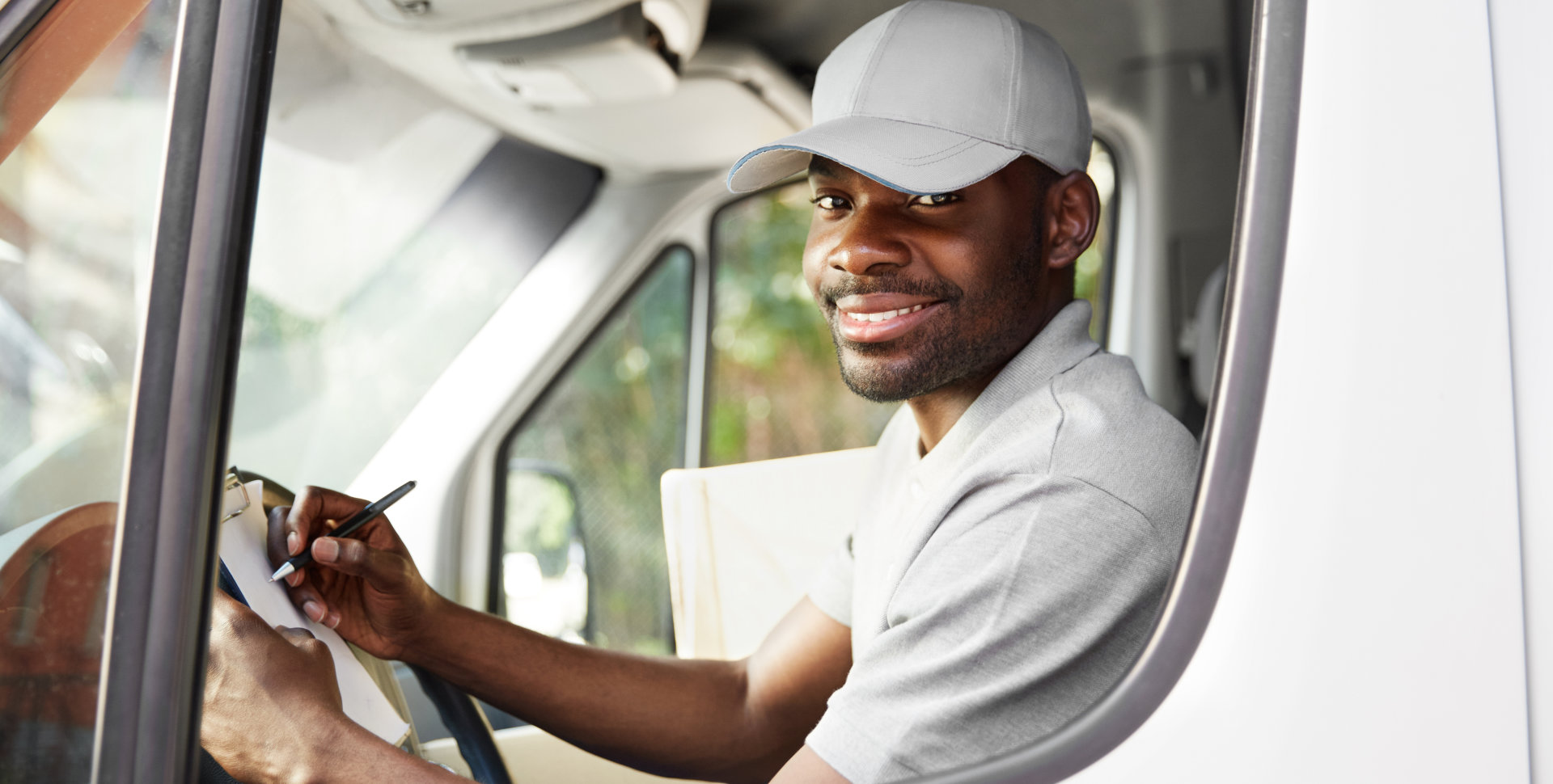 truck driver in a white shirt