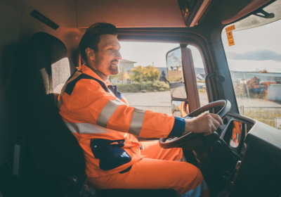 adult man driving a truck